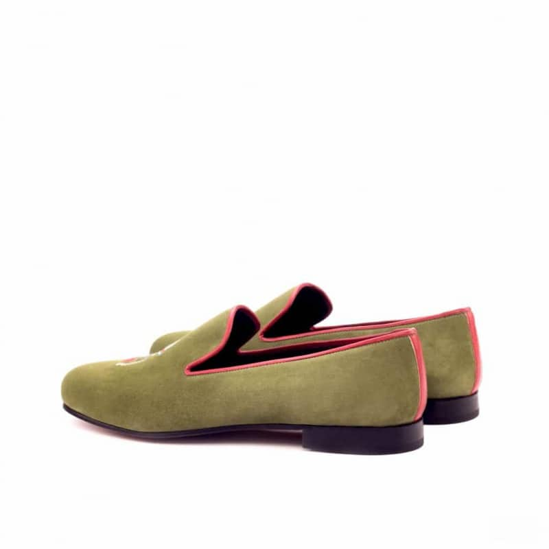 Custom Made Wellington Slippers in Khaki Suede with Red Painted Calf