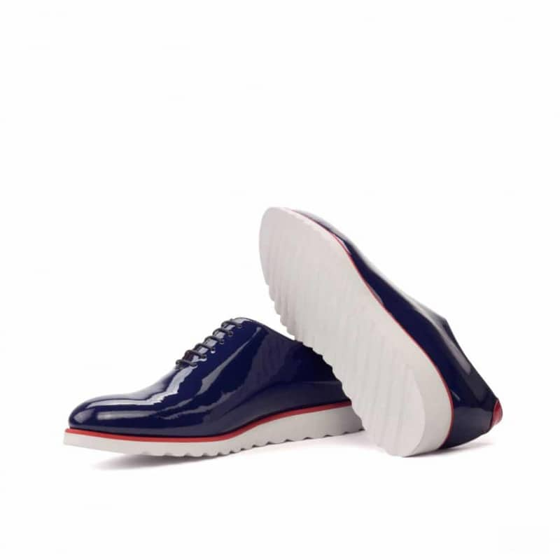 Custom Made Whole Cut Dress Shoes in Cobalt Blue Patent Leather with Red Patent Leather and Kid Suede