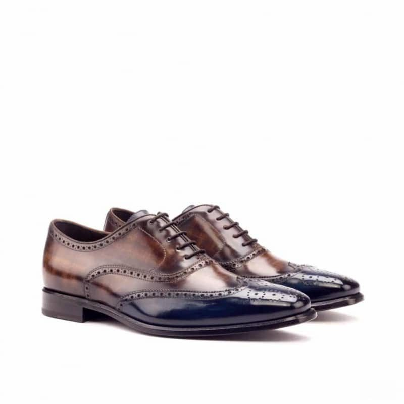 Custom Made Wingtips in Italian Raw Crust Leather with a Denim Blue and Brown Hand Patina with Medium Brown Box Calf