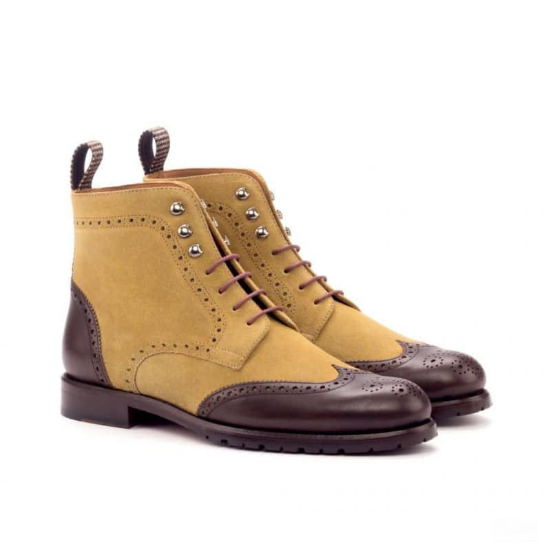 Custom Made Women's Military Brogue Boot in Camel Luxe Suede with Dark Brown Box Calf and Tweed