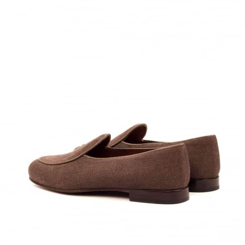 Custom Made Belgian Slippers in Brown Linen with Dark Brown Painted Calf