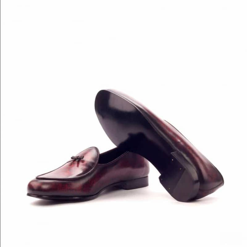 Custom Made Belgian Slippers in Italian Raw Crust Leather with a Burgundy and Brown Hand Patina