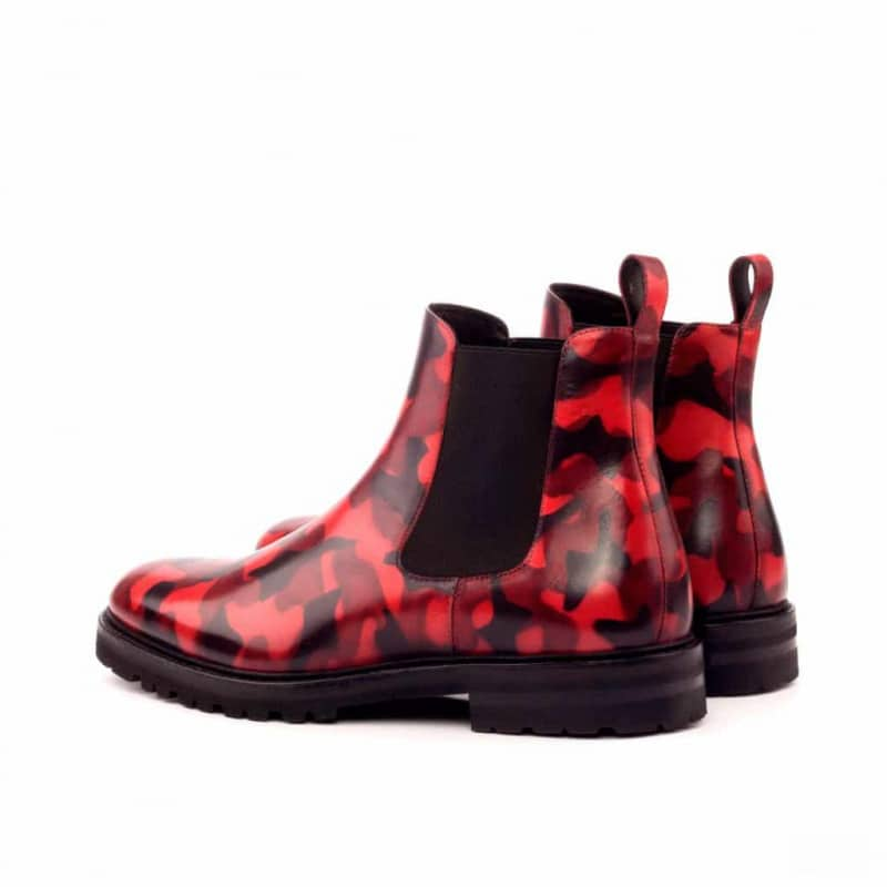Custom Made Chelsea Boot Classic in Italian Raw Crust Leather with a Burgundy Camo Hand Patina Finish