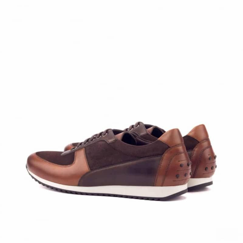 Custom Made Corsini Joggers in Medium and Dark Brown Painted Calf with Brown Kid Suede