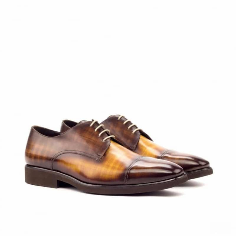 Custom Made Derby in Italian Raw Crust Leather with a Brown and Cognac Hand Patina Finish