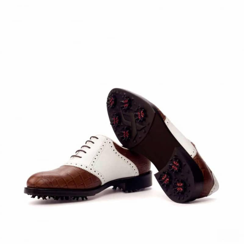Custom Made Golf Saddle Shoes in Brown Croco and White Box Calf