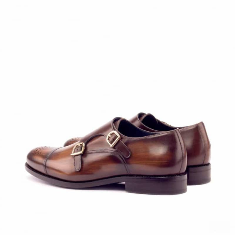 Custom Made Goodyear Welt Double Monks in Italian Raw Crust Leather with Brown Hand Patina and Dark Brown Polished Calf