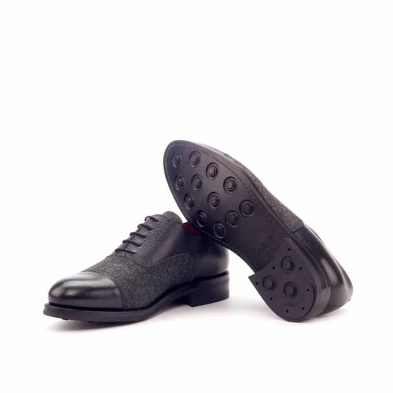 Custom Made Goodyear Welt Oxford in Black Painted Full Grain Leather with Dark Grey Flannel