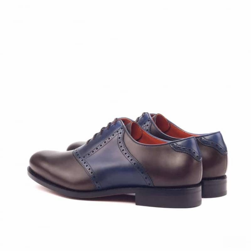 Custom Made Goodyear Welt Saddle Shoes in Dark Brown and Navy Blue Painted Calf Leather