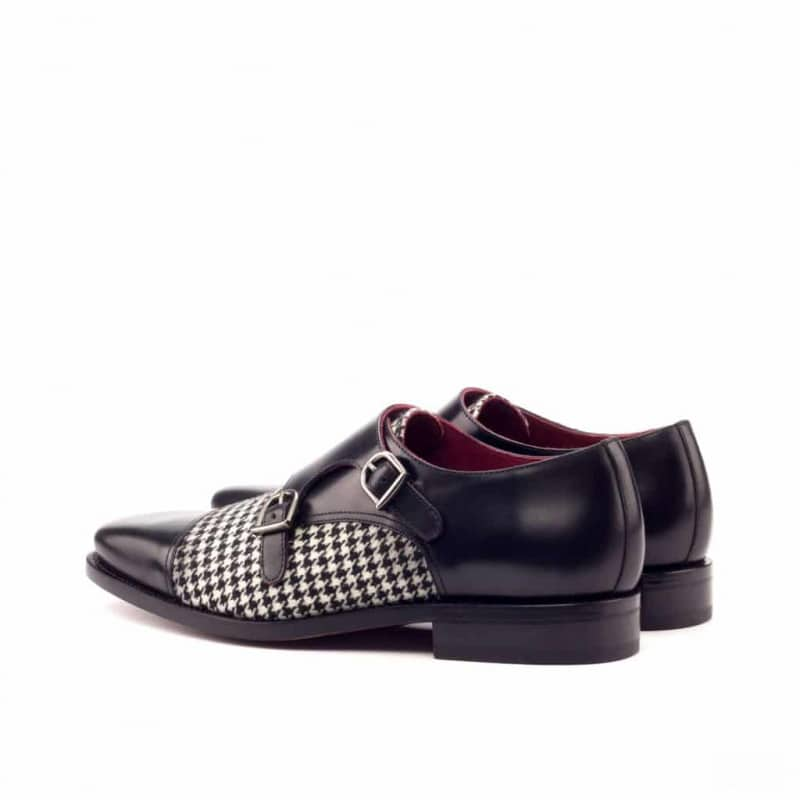 Custom Made Goodyear Welted Double Monks in Black Polished Calf Leather with Houndstooth