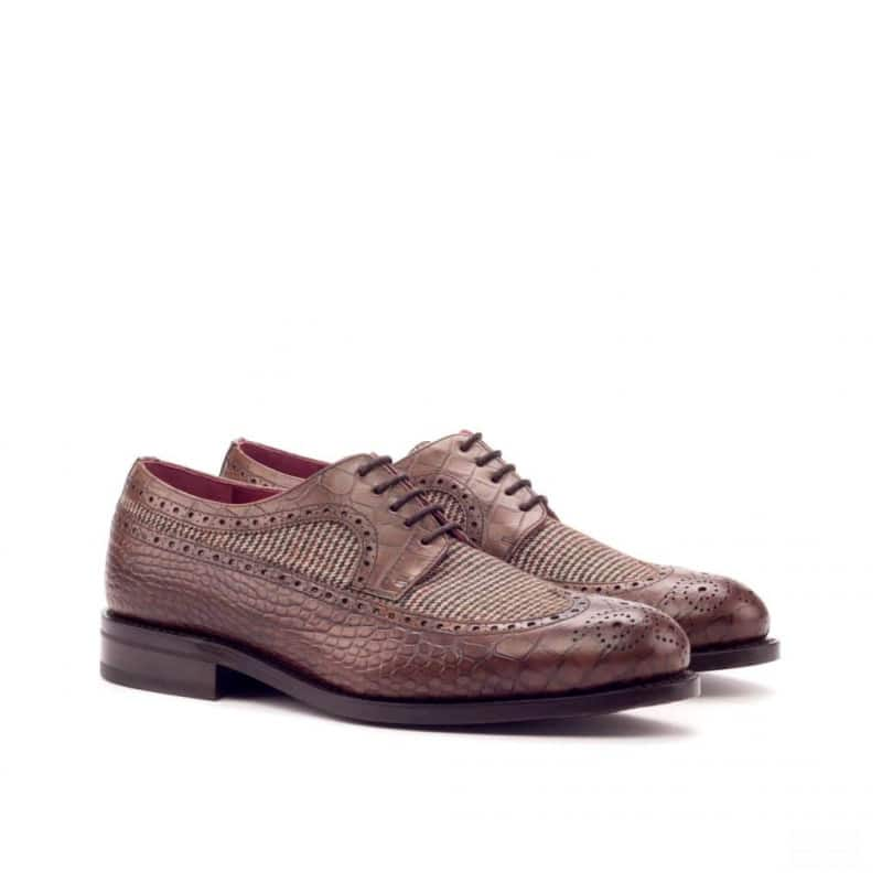 Custom Made Goodyear Welted Long Wingtip Blucher in Brown Croco and Tweed