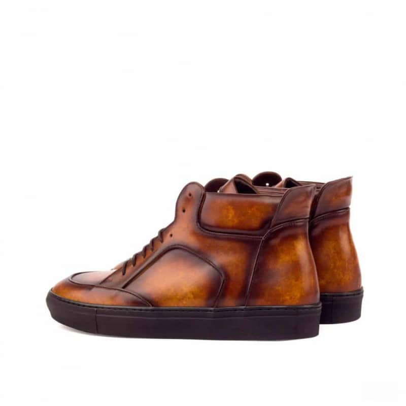 Custom Made High Top Multi Italian Raw Crust Leather with a Cognac Hand Patina Finish