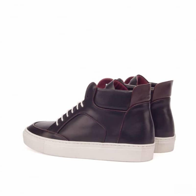 Custom Made High Top Multi in Black and Burgundy Painted Calf Leather