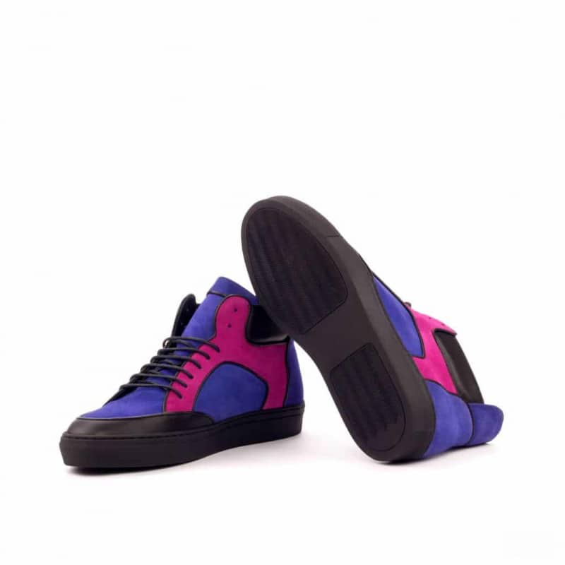 Custom Made High Top Multi in Purple and Fuschia Kid Suede with Black Calf Leather