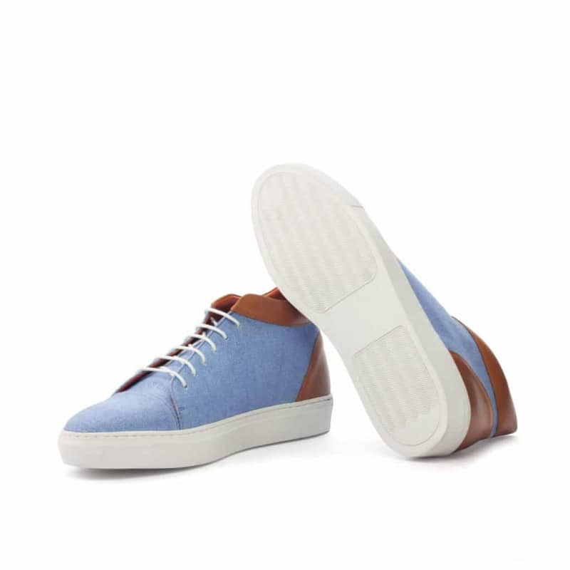 Custom Made High Top in Blue Linen with Cognac Painted Calf Leather