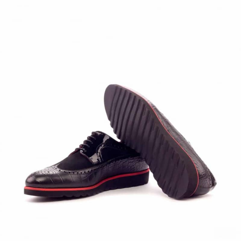 Custom Made Long Wingtip Blucher in Black Croco, Kid Suede and Patent Leather