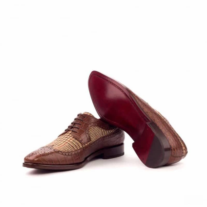 Custom Made Long Wingtip Blucher in Brown Croco Embossed Calf with Tweed