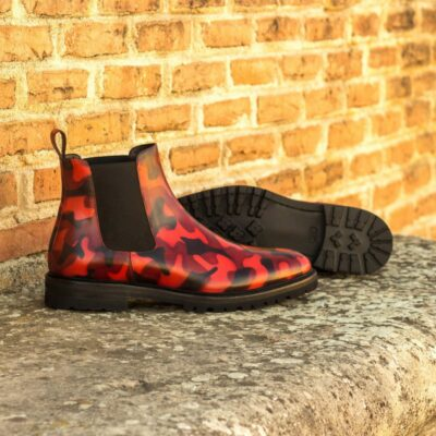 Custom Made Men's Chelsea Boot Classic in Italian Calf Leather with a Burgundy Camo Hand Patina Finish