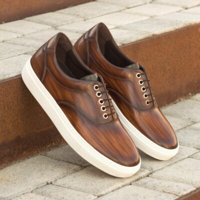 Custom Made Men's Cupsole Top Sider in Italian Calf Leather with a Brown Hand Patina