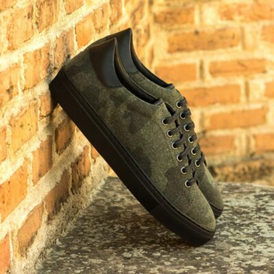 Custom Made Men's Cupsole Trainers in Camo Flannel with Black Box Calf