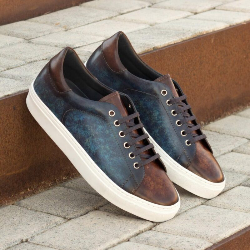 Custom Made Men's Cupsole Trainers in Italian Calf Leather with a Denim Blue and Brown Hand Patina Finish