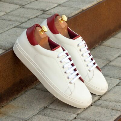 Custom Made Men's Cupsole Trainers in White Box Calf with Red Painted Calf Leather
