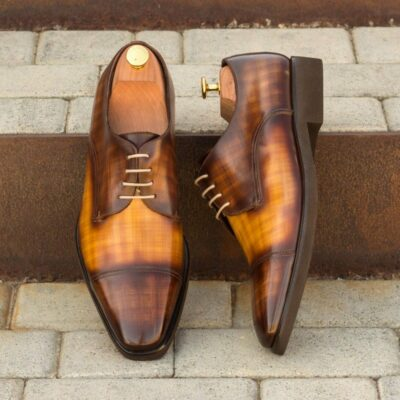 Custom Made Men's Derby in Italian Calf Leather with a Brown and Cognac Hand Patina Finish