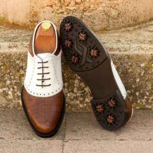 Custom Made Men's Golf Saddle Shoes in Brown Croco and White Box Calf