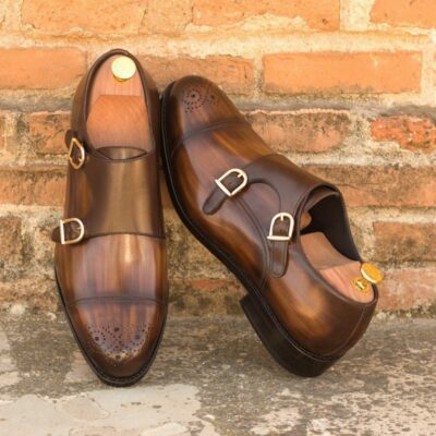Custom Made Men's Goodyear Welt Double Monks in Italian Calf Leather with Brown Hand Patina and Dark Brown Polished Calf