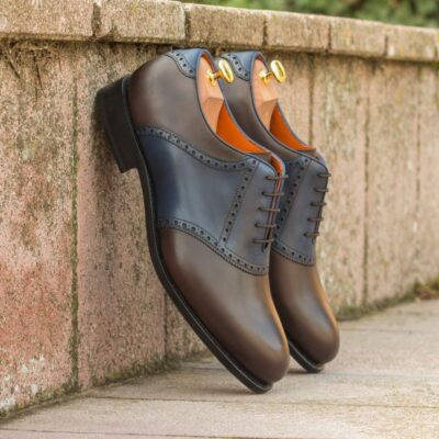 Custom Made Men's Goodyear Welt Saddle Shoes in Dark Brown and Navy Blue Painted Calf Leather