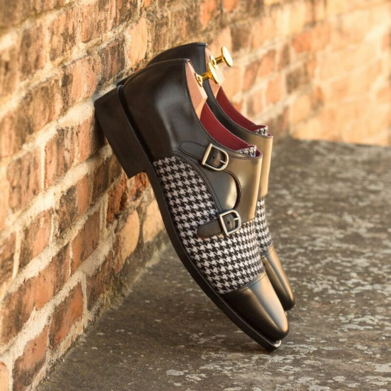 Custom Made Men's Goodyear Welted Double Monks in Black Polished Calf Leather with Houndstooth