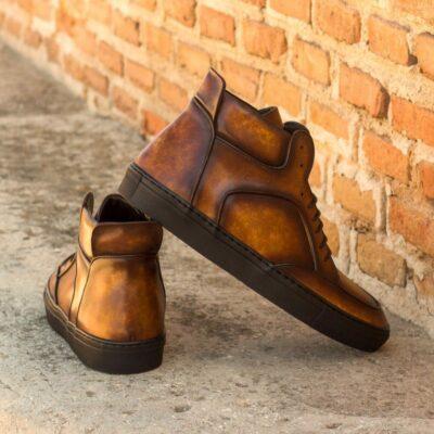 Custom Made Men's High Top Multi Italian Calf Leather with a Cognac Hand Patina Finish