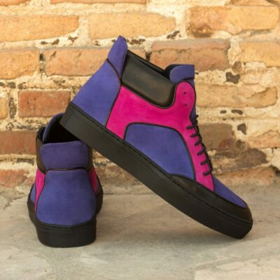 Custom Made Men's High Top Multi in Purple and Fuchsia Kid Suede with Black Calf Leather