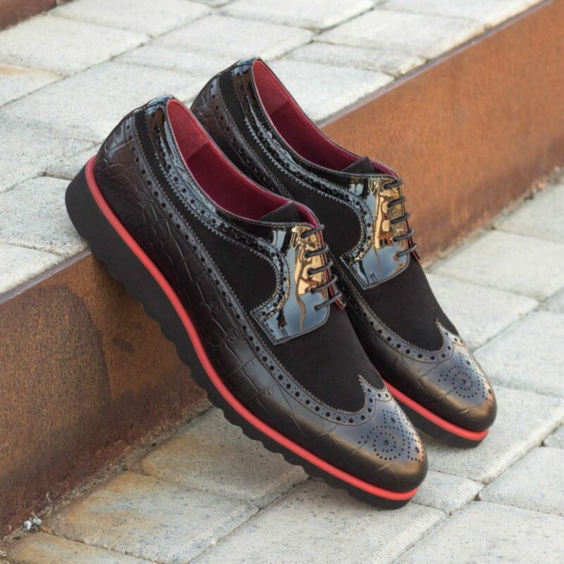 Custom Made Men's Longwing Blucher in Black Croco, Kid Suede and Patent Leather