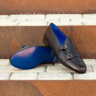 Custom Made Men's Monk Slippers in Black Croco Embossed Calf Leather