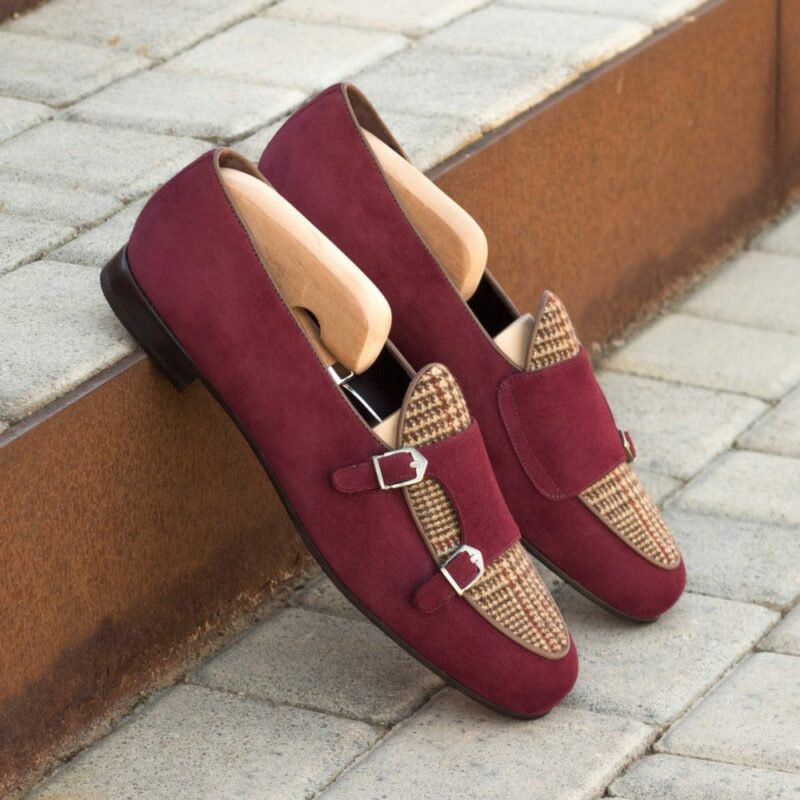 Custom Made Men's Monk Slippers in Wine Suede with Tweed and Dark Brown Painted Calf Leather Piping