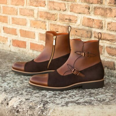 Custom Made Men's Octavian Boot in Medium Brown Painted Calf Leather with Brown Kid Suede