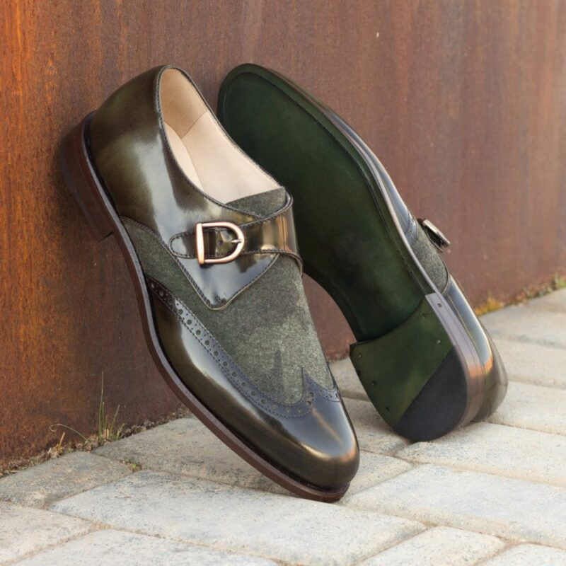 Custom Made Men's Single Monks in Florantic Military Green Polished Calf and Camo Flannel