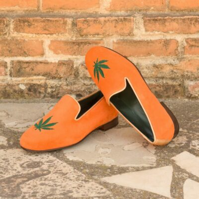 Custom Made Men's Wellington Slippers in Orange Suede with Green Leaf Embroidery