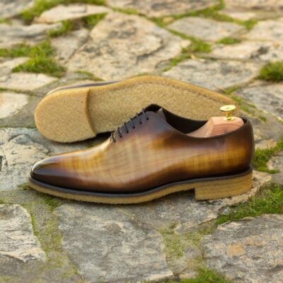 Custom Made Men's Wholecut Dress Shoes in Italian Calf Leather with a Cognac and Burgundy Hand Patina