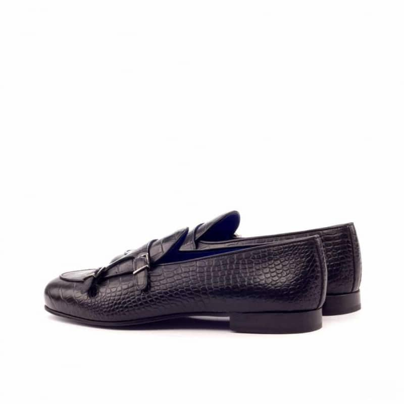 Custom Made Monk Slippers in Black Croco Embossed Calf Leather