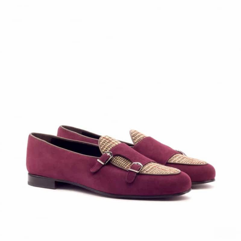Custom Made Monk Slippers in Wine Suede with Tweed and Dark Brown Painted Calf Leather Piping
