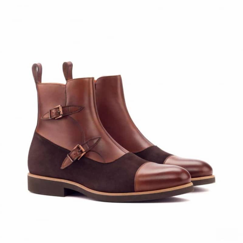 Custom Made Octavian Boot in Medium Brown Painted Calf Leather with Brown Kid Suede