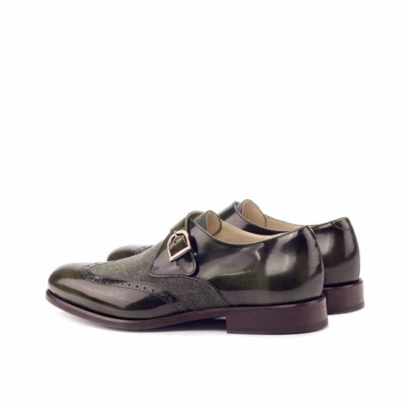 Custom Made Single Monks in Florantic Military Green Polished Calf and Camo Flannel