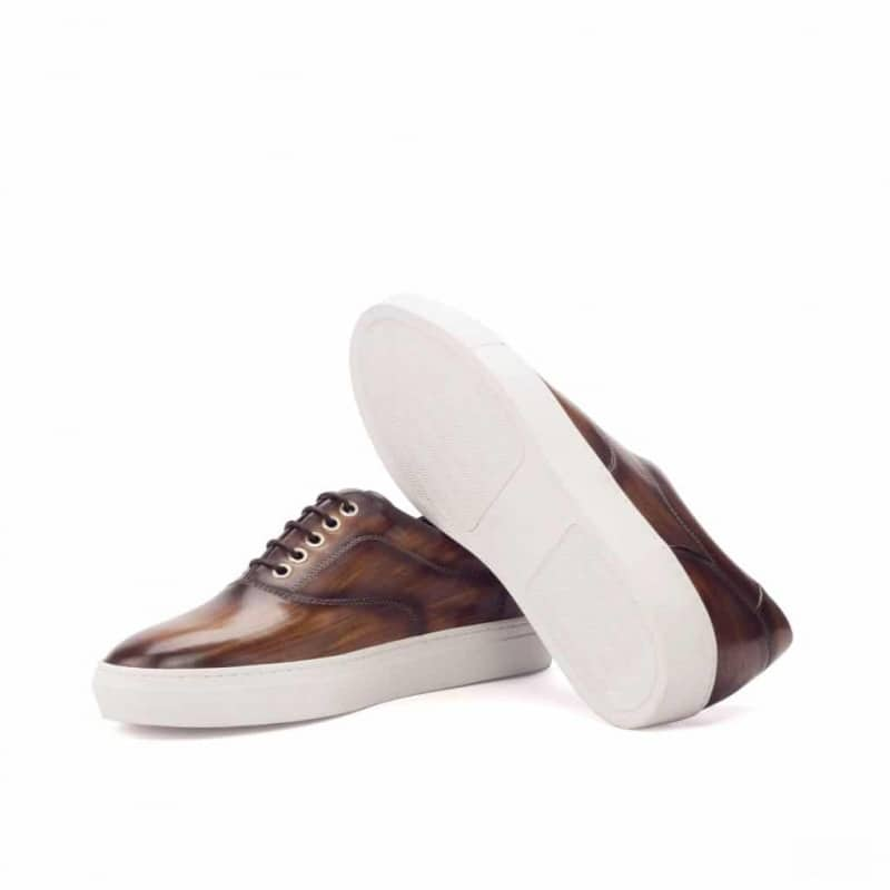 Custom Made Top Sider in Italian Raw Crust Leather with a Brown, Cognac and Khaki Hand Patina