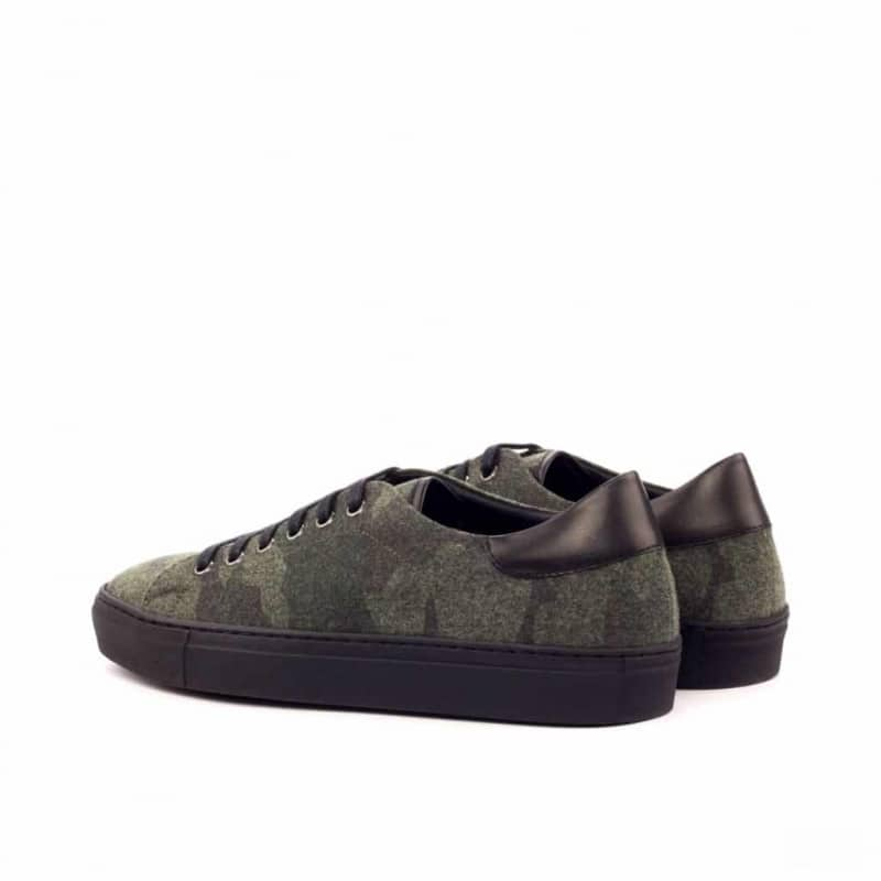 Custom Made Trainers in Camo Flannel with Black Box Calf