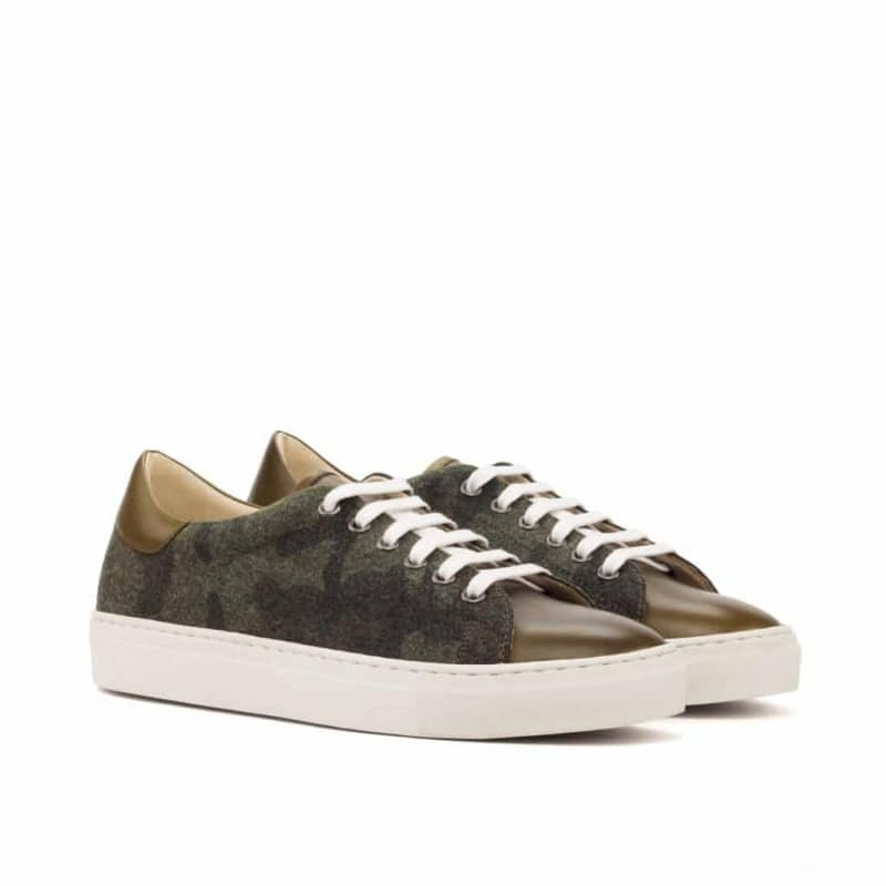 Custom Made Trainers in Camo Flannel with Olive Painted Calf Leather