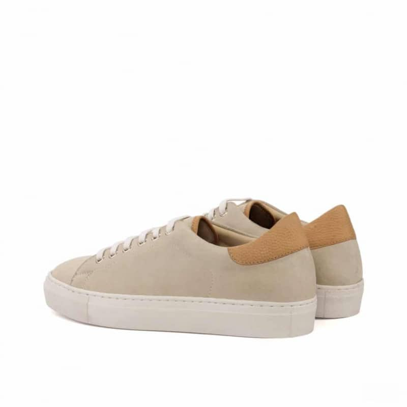 Custom Made Trainers in Ivory Kid Suede with Fawn Painted Full Grain Leather