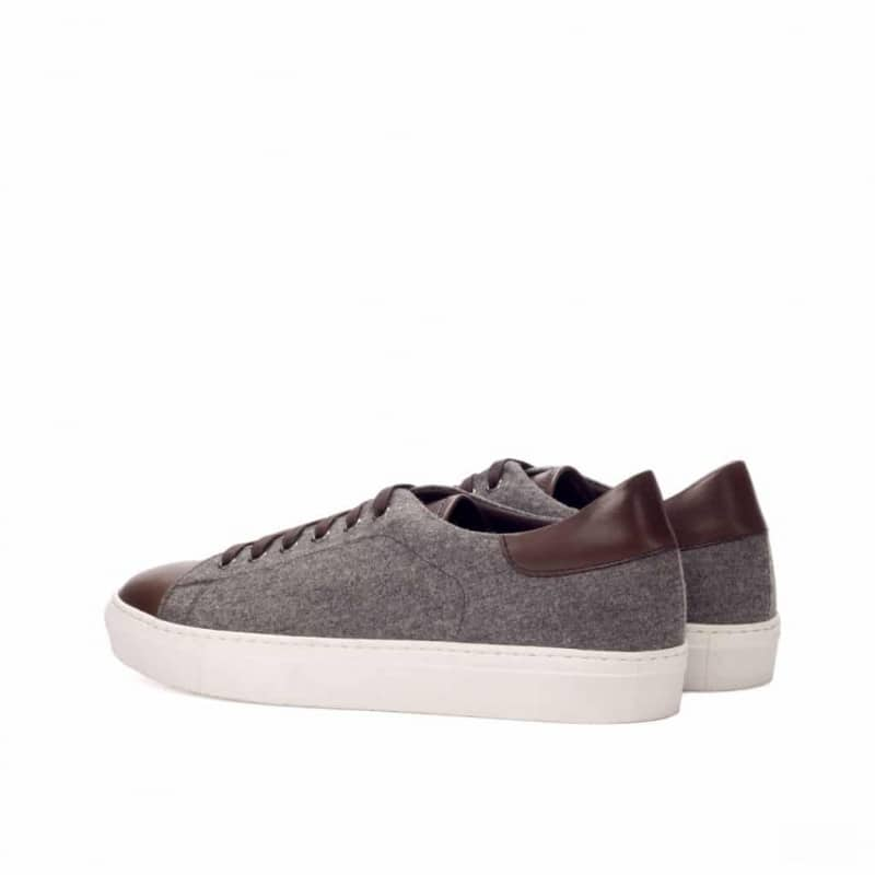 Custom Made Trainers in Light Grey Flannel with Dark Brown Painted Calf Leather