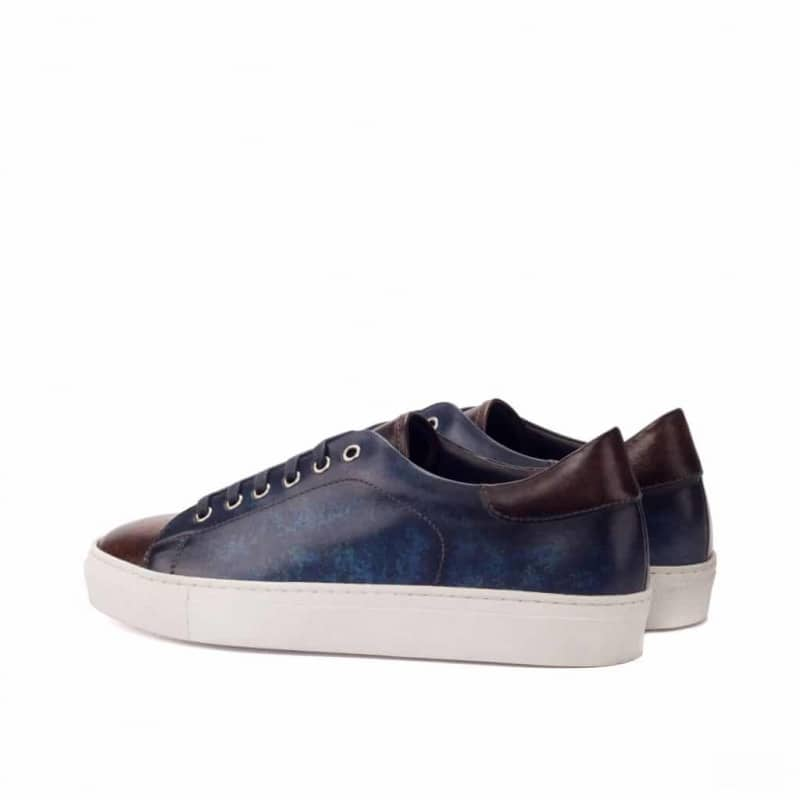Custom Made Trainers in Raw Crust Italian Leather with a Denim Blue and Brown Hand Patina Finish